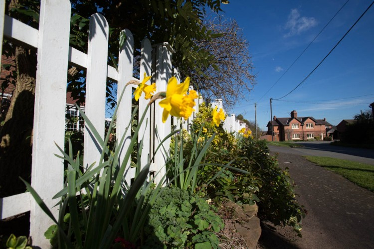 Picturesque spring view of the village of Barton at Barton Road.