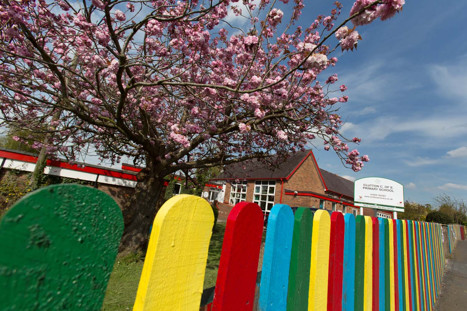 Colourful spring view of the Clutton Church of England Primary School.