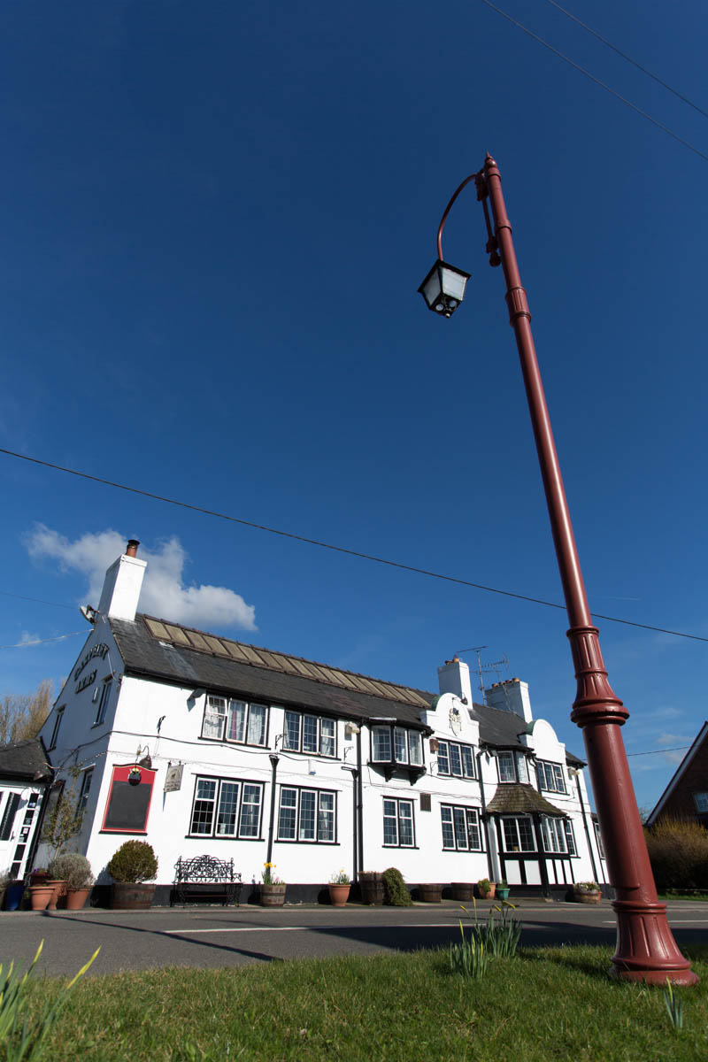 Spring view of Handley's Calveley Arms restaurant and pub, on Whitchurch Road.