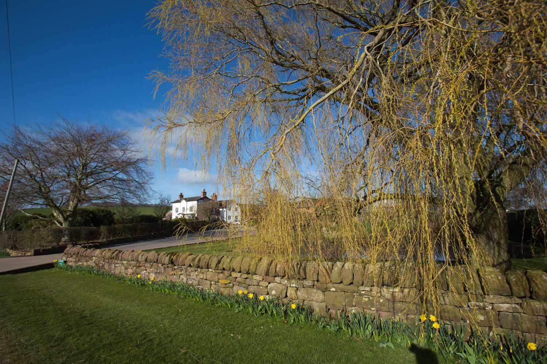 Picturesque Spring view of the exterior of Larkton House Farm on, Coach Road, in the Cheshire parish of Larkton.
