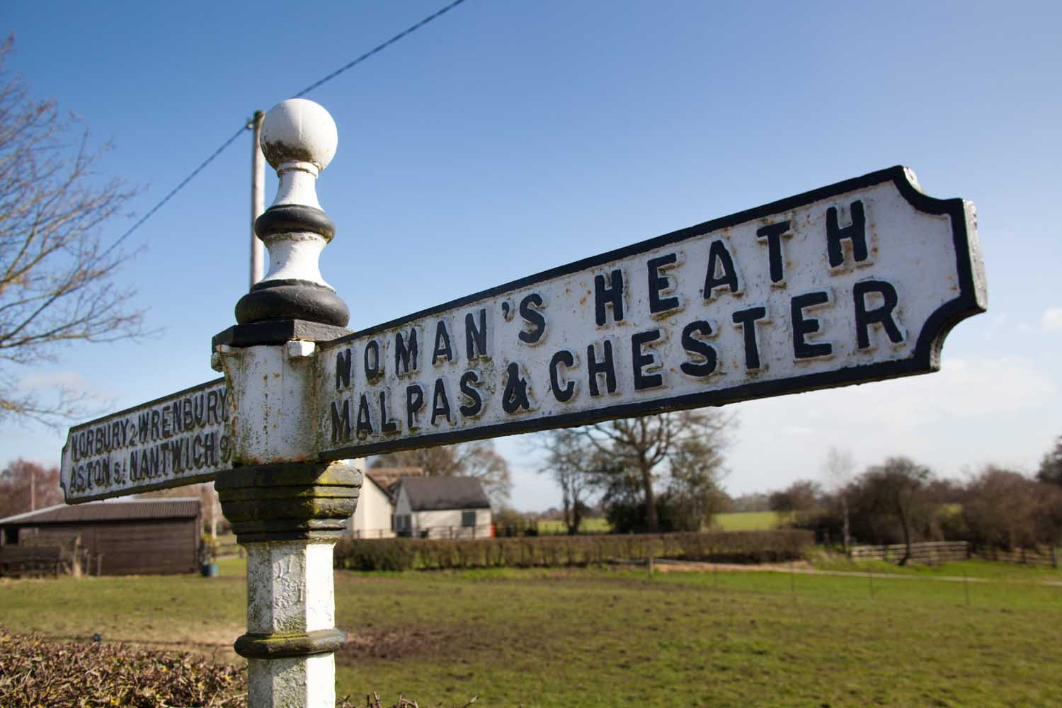 Picturesque view of an old style road sign at Bickley's Bickley Lane.