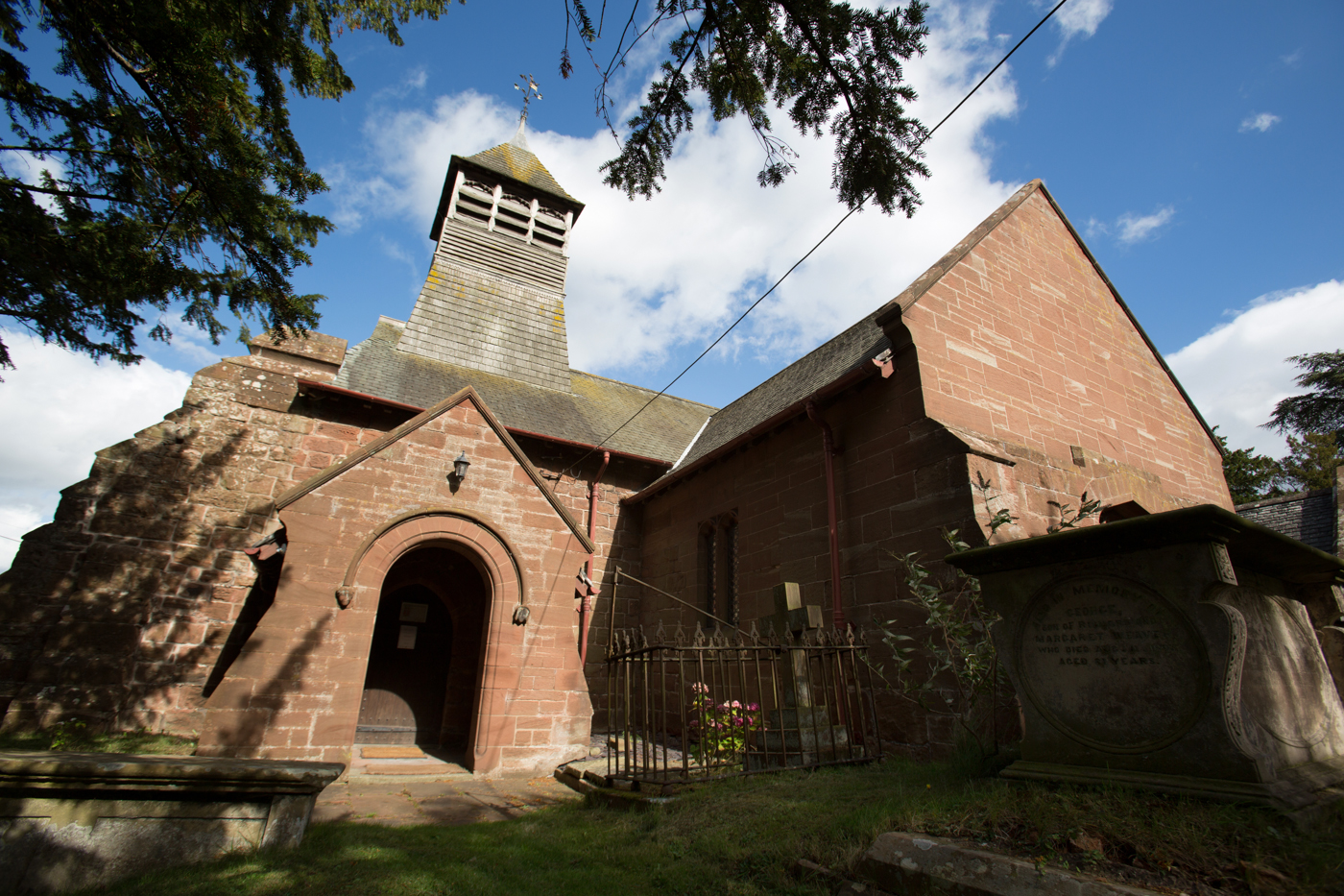 Settlement of Bruera, Cheshire, England. Picturesque view of the historic Grade II listed St Mary's Anglican Parish Church.